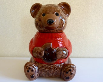 Vintage Duncan Hines Bear Cookie Jar - Ceramic - Pottery - Made in Canada - Collectible