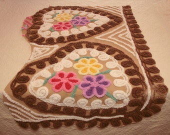 Plush Bright Flowers in Chocolate Hearts Vintage Chenille Bedspread Fabric - Large Piece