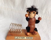 Vintage wood monkey letter rack  retro desk supply