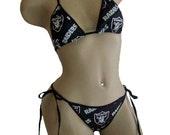 Oakland Raiders Black Bikini - By Sexy Crushes - Custom Made Top and Scrunch Bottom