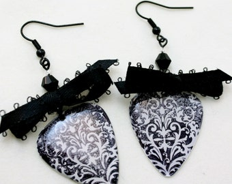 Black and White Lace Guitar Pick Earrings.
