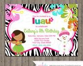 Luau Winter Birthday Party Invitations Printable File-Hibiscus, Hula Skirt, Flowers, Zebra Print, Snowman Hula