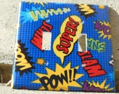 Superhero Comic Book Exclamations Double Light Switch Plate Cover