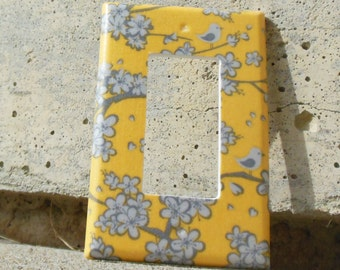 Birds and Cherry Blossom Yellow and Grey Rocker / Decora / Dimmer / GCFI Light Switch Plate Cover