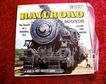 Railroad Sounds Vintage Vinyl lp Record Stereo Steam and Diesel Trains Audiophile 1957