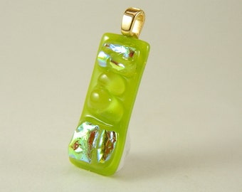 Green and Turquoise Dichroic Fused Glass Pendant