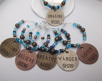 Believe Inspirational Word Beaded Glass Wine Charms Set of 6