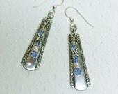 Demitasse Spoon Earrings, Light Blue Sapphire Crystals, Dragonflies,  'Malibu' 1934, Silverware Jewelry