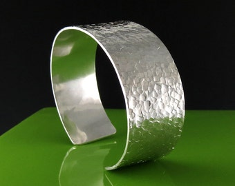 Handmade Sterling Silver Cuff Bracelet with Square Texture