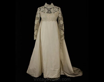 Size 8 Wedding Dress - Priscilla of Boston Net & Peau du Soie Empire Bridal Gown with Pearl Lattice and Trailing Train - Bust 34.5 - 36365