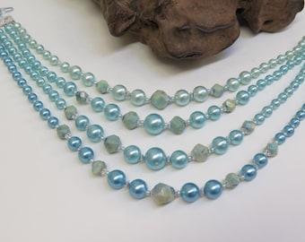 Choker Style Bead Necklace 4 Strand Vintage 70s Ocean Blue Bib Necklace