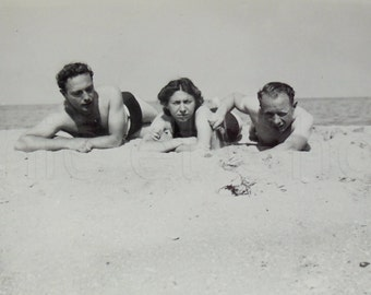 Vintage Seaside Photo - Sun Bathers on a Sandy Beach