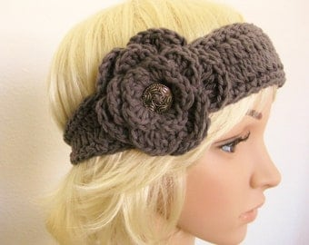 Gray Headband Crocheted with Flower-Crochet Head Band with Flower-Crochet Headband-Gray Head Band-Teenager Headband-Gray Crochet
