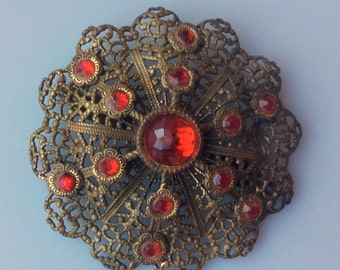 Vintage Filigree Brooch with Red Cabochons - C Clasp