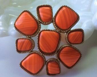 Groovy Big Orange Striped Brooch and Pendant