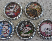 5 x Ed Hardy Inspired Flattened Silver Bottle Caps - Great for Jewellery, Cards, Keyrings