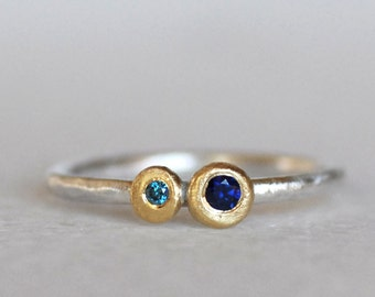 Sapphire Diamond Pebble Ring - Blue Sapphire 18k Gold and Sterling Silver Ring - You and I Ring - Eco-Friendly Recycled
