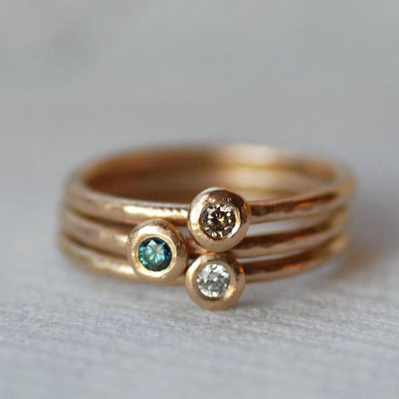 Diamond Pebble Ring - Choose Diamond Color - Choose 1.3mm Band or 1.6mm Band