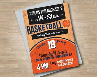 Basketball Invitation, Basketball Court, Teen Basketball Invite