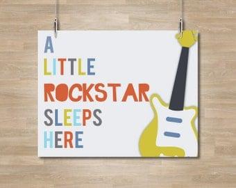 Guitar Nursery Art - Little Rockstar