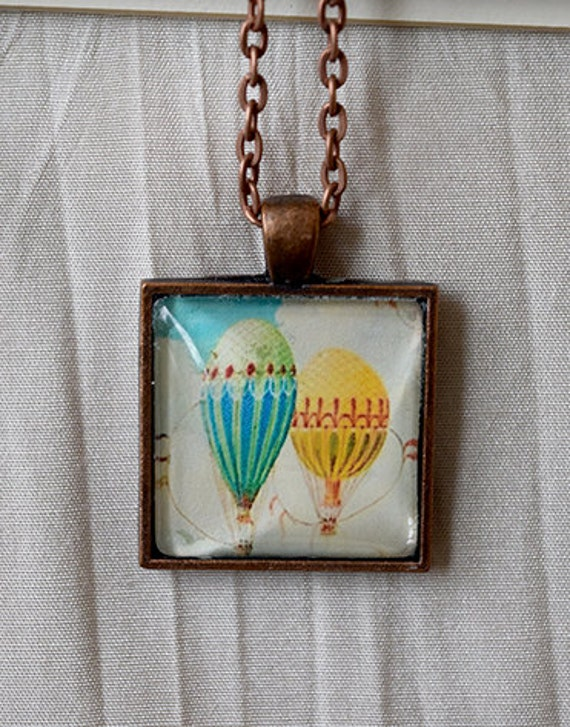 Hot air balloons- antiqued copper pendant and chain
