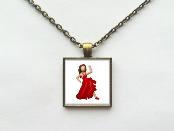 Woman in the Red Dress Emoji Necklace or Keychain