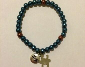 Autism Glass Pearl HOPE Puzzle Piece Beaded Charm Bracelet