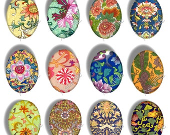 Printable  Digital Oval Shapes  for Pendants Cabochon Size 18 X 25 mm  Clip Art Chinese Asian Images Download and Print CS 80