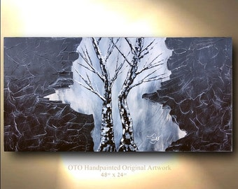Tree & rock Painting 48x24 Abstract art Black and white artwork Art canvas modern art contemporary art grey painting By OTO tjenkinsarts