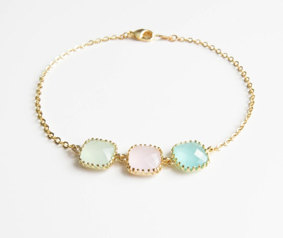 Personalized Bracelets   3 Stone Bracelet   Birthstone Bracelets   Bridesmaids Bracelet   Birthstone Bracelet for Mom   Mothers Day Bracelet