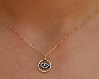 Evil Eye Necklace - Gold Evil Eye with CZ's Necklace, Lucky Eye Gift, Protection, Good Luck, Pave Evil Eye Necklace, Stylish Necklace