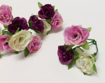 Silk Flowers - 15 SMALL Sweetheart Roses in Purple Cream Lavender Pink - Dry Look - MINIATURE Roses