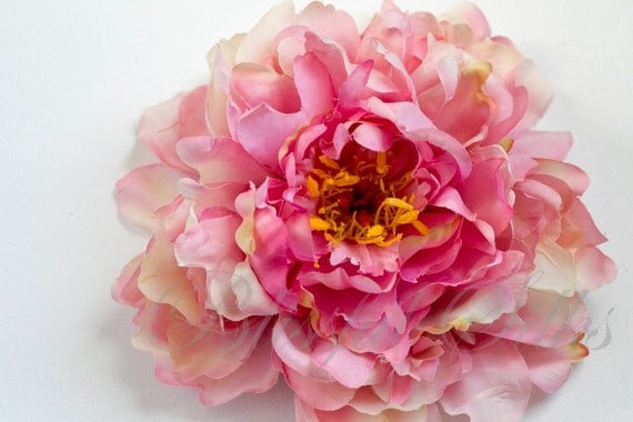 Silk Flowers - One Jumbo Pink Peony Accented with Lavender - 7 Inches - Artificial Flower