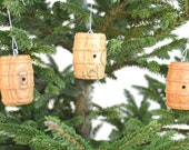 HOLIDAY - Winery - Set of 3 Wine Barrel Ornaments - Made from retired wine barrels -- 100% recycled