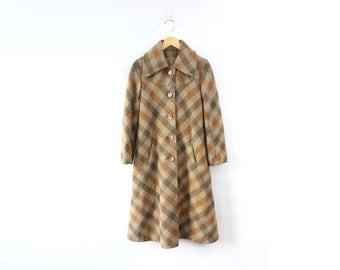 VINTAGE 1960s Plaid Coat Brown Wool Scarf Small