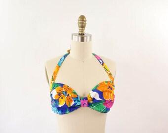 VINTAGE Bikini Tropical Floral Top Medium