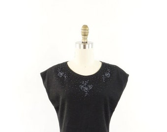 VINTAGE Knit Dress Beaded Charcoal Grey