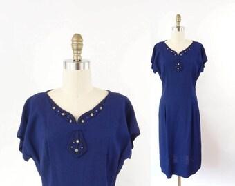 VINTAGE 1940s Blue Dress Rhinestone Beaded Linen Medium Large