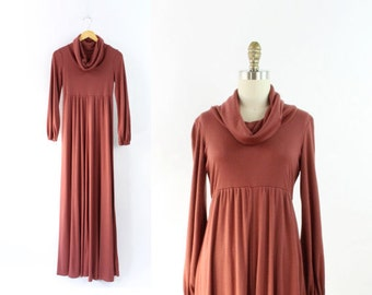 VINTAGE 1970s Maxi Dress Cowl Neck Long