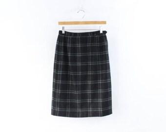 VINTAGE 1950s Plaid Pencil Skirt Green Black