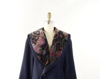 VINTAGE Navy Coat Floral Velvet Collar