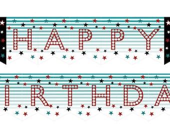 DIY Printable Rock Star Happy Birthday Banner INSTANT DOWNLOAD