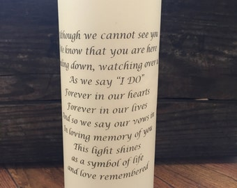 Wedding Memorial Candle, Remembrance Candle, Unity Candle, Customized Wedding Candle, Personalized Candle, Love, Poem