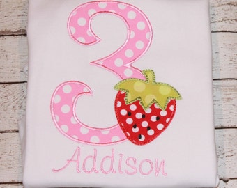 Girl's Strawberry Birthday Shirt, Ages 1-9 available, Choose Ruffle Shirt, Tee, or Bodysuit