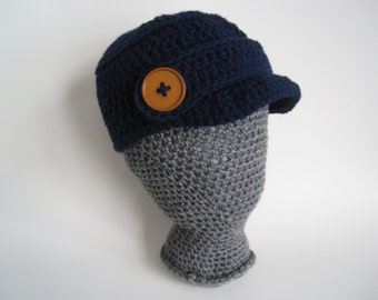 Crochet Newsboy Hat Child size to teen in Navy Blue