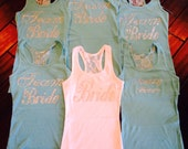 set of 6 bridesmaid tank tops . Bridesmaid half lace tank tops . Bridesmaid bling tanks . Wedding party tanks . bridesmaid tops .
