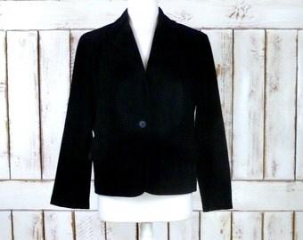 Vintage black fitted suede leather blazer jacket/suede cropped blazer