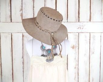 Vintage tan brown suede leather cowboy hat/western suede leather rancher hat/boho gypsy hat
