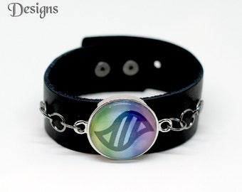 Pokemon Go Bracelet, Mega Stone Leather Cuff, Mega Stone Bracelet, Pokemon Gifts, Unisex Bracelet, Gamer Jewelry