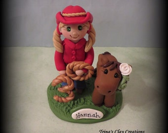 Polymer Clay Cowgirl and Pony, Birthday Cake Topper, Sculpture